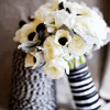 Black and White Anemone Bouquet