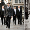 Bride in Pronovias and Groom in Dove Grey Paul Smith Suit