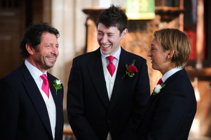 Morning Suit With Fuschia Pink Cravat at Preston Barn Wedding