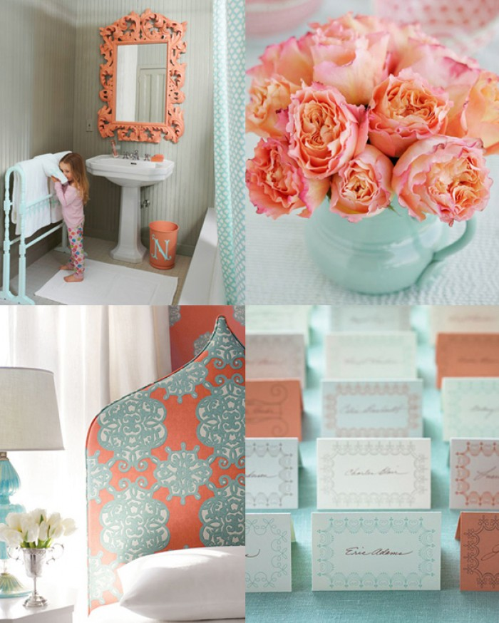 Seafoam and Peach Theme Wedding Board