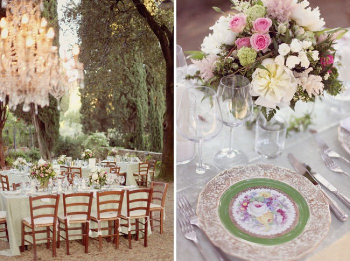 Vintage Wedding With Chandelier Hanging From Tree in Italy