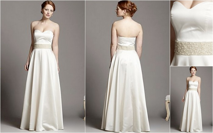 Simple A Line Strapless Ivory Satin Beaded Pearl Wedding: 6 Hot Wedding Dresses On A Budget
