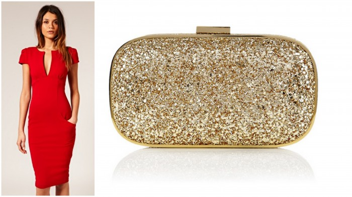 Red Pencil Dress with Anya Gold Clutch  Valentine Style