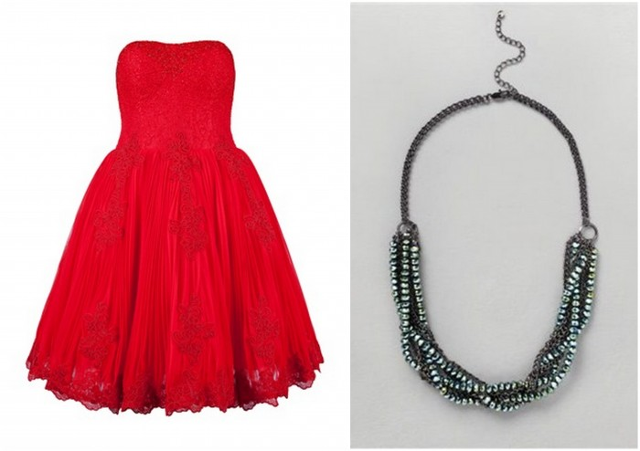 Red Ted Baker Dress and French Connection Choker for Valentines Day Style