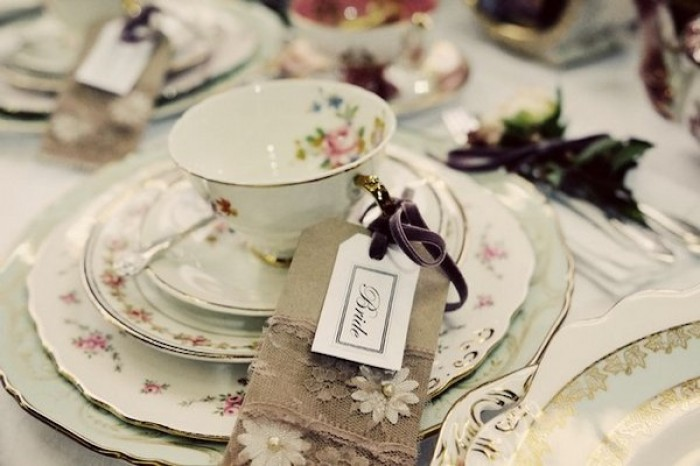 Vintage wedding tea up with bride placename tag and soft cream biscuit napkin