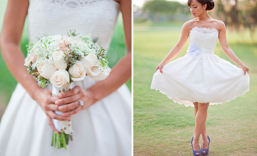 Pretty Vintage Wedding Dress With Coloured Pastel Shoes